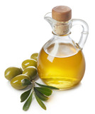 Bottle of olive oil and green olives with leaves - 212578366