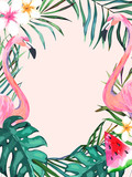 Summer frame with tropical jungle leaves and pink flamingo.Vector aloha illustration. Watercolor style - 212581589