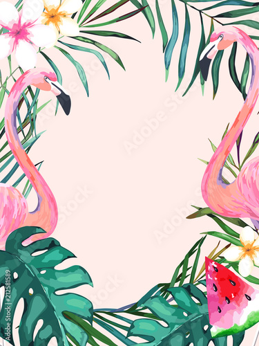 Fototapeta Summer frame with tropical jungle leaves and pink flamingo.Vector aloha illustration. Watercolor style