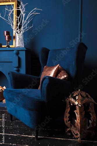 modern living room details of dark blue color