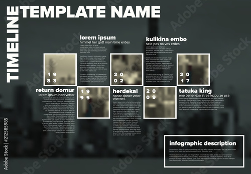 Vector Infographic timeline template with photos - 212585985