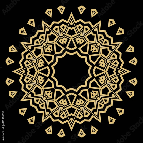 Fotobehang Abstractie Mandala on a background. Beautiful oriental, asian motives. Flower GEOMETRIC vector.