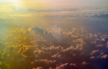 Sky and cloud formations seen from the plane
