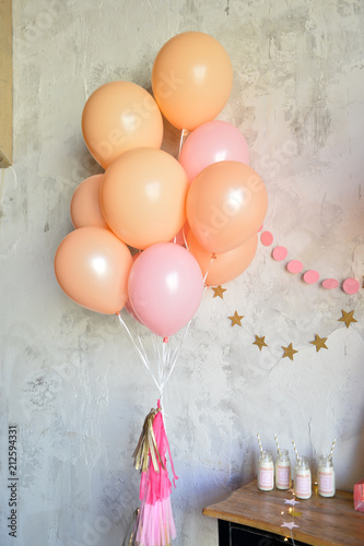 Birthday decorations ideas. Decorations for holiday party. A lot of balloons. Birthday party decorations.