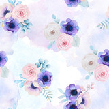 Watercolor seamless background with delicate flowers