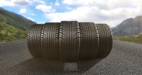 Reifen auf der Fahrbahn