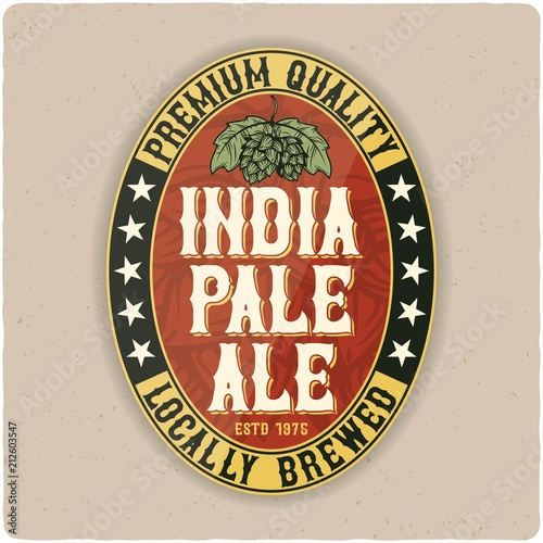 beer oval label typographic template beverage package design buy