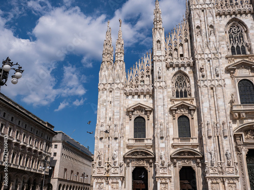 Fotobehang Milan Milan, Italy - June 2018 : Famous Milan Cathedral (Duomo di Milano), view of the architecture details, west facade