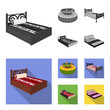 Different beds monochrome,flat icons in set collection for design. Furniture for sleeping vector isometric symbol stock web illustration.
