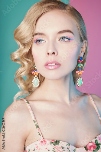 Plexiglas womenART Blonde woman with color makup on colorful background