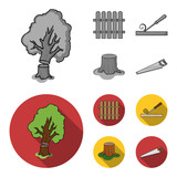 Fence, chisel, stump, hacksaw for wood. Lumber and timber set collection icons in monochrome,flat style vector symbol stock illustration web. - 212607920