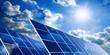 Leinwanddruck Bild - Solarkollektoren, Sonne und Wolken
