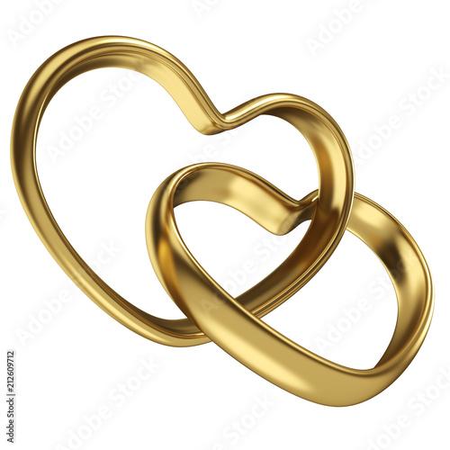 Para połączonych złote obrączki w kształcie serca