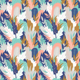 Foliage graphic seamless patterns. Vector floral texture with hand drawn abstract flowers and leaves. Background with colorful doodle floral elements. - 212610138
