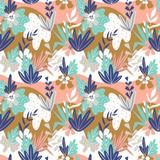 Foliage graphic seamless patterns. Vector floral texture with hand drawn abstract flowers and leaves. Background with colorful doodle floral elements. - 212610177