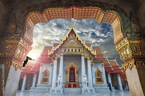 Plexiglas Bangkok marble temple on sunrise sky with cloud