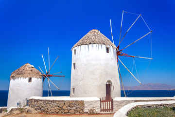 Traditional greek windmills on Mykonos island, Cyclades, Greece