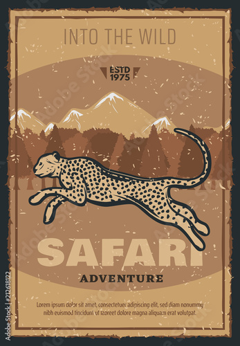 Vector retro poster for safari hunting adventure
