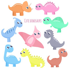 Cute cartoon dinosaurs set. Flat design.