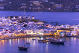 Traditional greek windmills on Mykonos island, Cyclades, Greece - 212621572