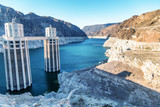 Hoover Dam in United States. Hydroelectric power station on Arizona - Nevada border - 212626145