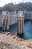 Hoover Dam in United States. Hydroelectric power station on Arizona - Nevada border - 212630525
