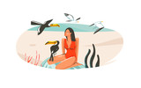 Hand drawn vector abstract cartoon summer time graphic illustrations art template sign background with girl,relaxing on beach scene and tropical birds isolated on white background - 212630526