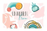 Hand drawn vector abstract graphic creative cartoon illustrations poster with astronaut space unicorn,comets and planets in cosmos and Unicorn crew calligraphy isolated on white abstract background - 212632191