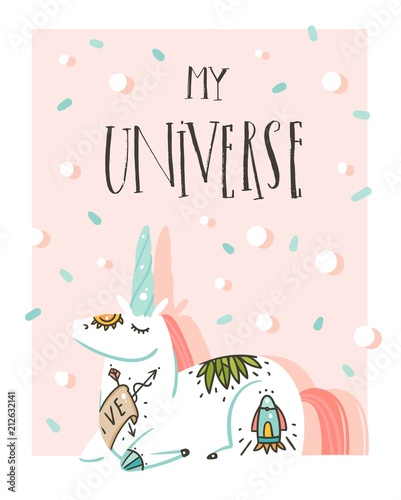 Hand drawn vector abstract graphic creative cartoon illustrations poster card template with astronaut unicorn with old school tattoo, planets and My Universe calligraphy isolated on pastel background - 212632141
