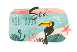 Hand drawn vector abstract cartoon summer time graphic illustrations art template banner background with ocean beach landscape,pink sunset view,beauty toucan with Sea you soon typography quote - 212633503