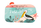Hand drawn vector abstract cartoon summer time graphic illustrations banner background with ocean beach landscape,pink sunset view,pelican bird and Beach holidays typography quote isolated on white - 212633571