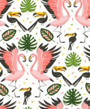 Hand drawn vector abstract cartoon graphic summer time beach illustrations seamless pattern with flamingo and toucan birds,monstera and banana tree tropical palm leaves isolated on white background - 212633708
