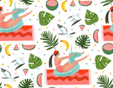 Hand drawn vector abstract cartoon summer time graphic illustrations seamless pattern with relaxing girl,beach birds,watermelon,banana fruits and tropical palm leaves isolated on white background - 212633941