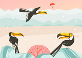 Hand drawn vector abstract cartoon summer time graphic illustrations art template background with ocean beach landscape,pink sunset,tropical toucan birds and copy space place for your text - 212634332