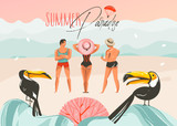 Hand drawn vector abstract cartoon summer time graphic illustrations art template background with ocean beach landscape,pink sunset,toucan birds and group of people with Summer Paradise typography - 212634395