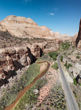 Mountains, river and road of Zion National Park, Utah aerial view - 212634597