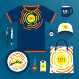 Corporate identity template, uniform and promotional gifts - 212636312