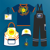 Corporate identity template, uniform and promotional gifts - 212636371