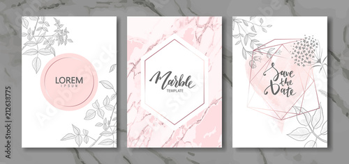 Luxury cards collection with marble texture and hand-drawn plants.Vector trendy background. Modern set of abstract card, template,posters,invitation - 212638775