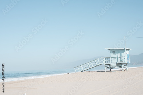 Beach and life guard tower in California - 212639149