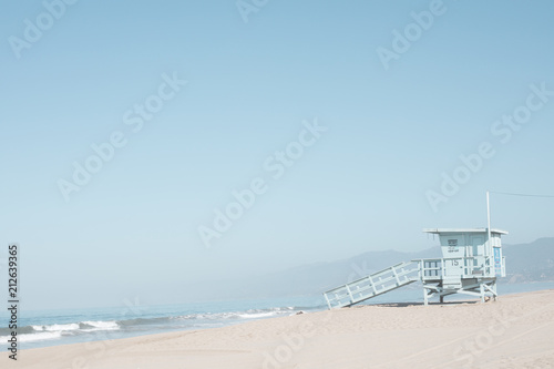 Beach and life guard tower in California
