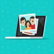 Photos on laptop computer screen vector illustration, flat cartoon photo cards on pc display, idea of photography gallery viewing, multimedia album, digital photos