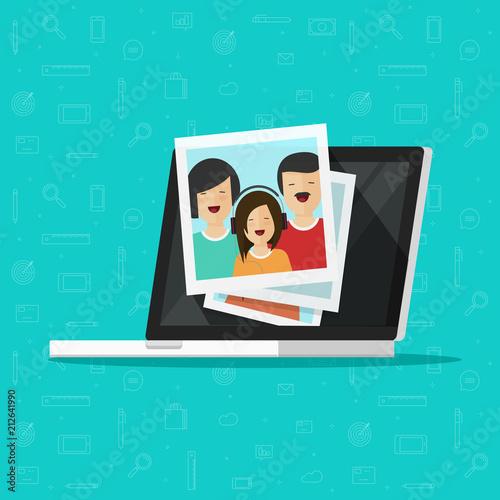 Fototapeta Photos on laptop computer screen vector illustration, flat cartoon photo cards on pc display, idea of photography gallery viewing, multimedia album, digital photos