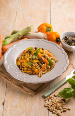 tagliatelle with capsicum capers pinenuts an carrots