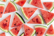 Watermelon pattern. Sliced watermelon on white background.
