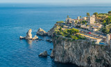 Scenic view of Taormina coastline, province of Messina, Sicily, southern Italy. - 212650756