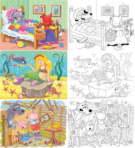 Little Red Riding Hood and others. Fairy tale. Coloring book. Coloring page. Cute and funny cartoon characters - 212654389