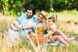 parents and son sitting on blanket at picnic and palming dog - 212658144