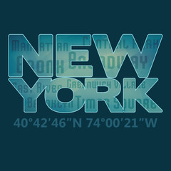 'New York' typography for t-shirt. Vector graphic design