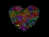 Heart shape illustration with colorful bubbles. - 212659351